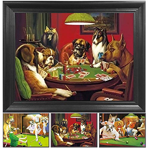 Poker Dogs 3D Poster Wall Art Decor Framed Print | 14.5x18.5 | Lenticular Posters & Pictures | Memorabilia Gifts for Guys & Girls Bedroom | Cool Trippy Fan Parody Art, Fantasy Movie & TV Show Picture