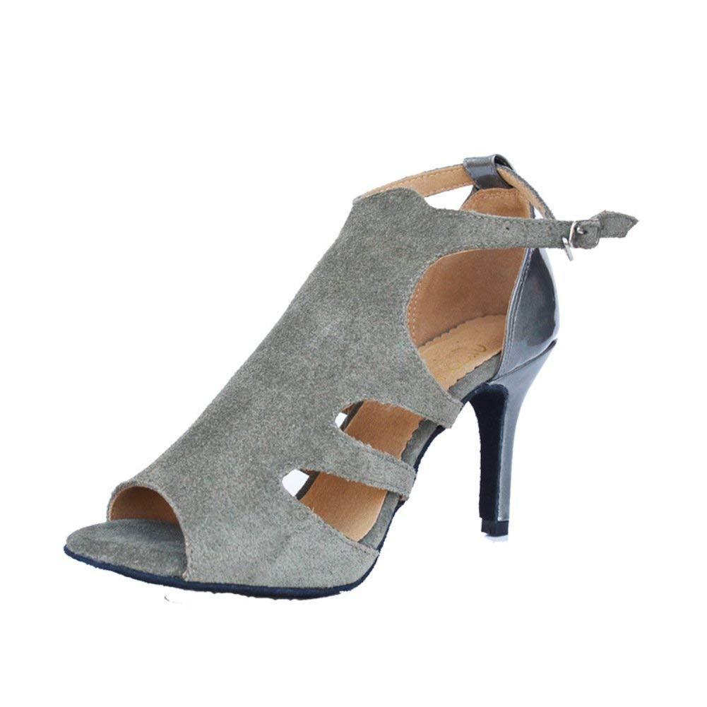 Fuxitoggo Lateinamerikanische Tanzschuhe der Frauen weiche untere Peep-Toe soziale Tanzschuhe Sandale (Farbe   Grau Größe   Foot Length=24.3CM9.6Inch)