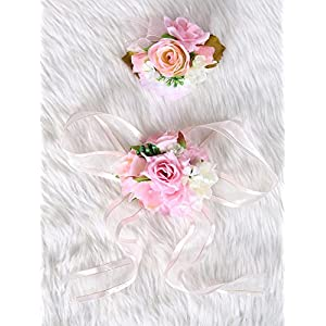 Secret Garden Wedding Prom Wrist Corsage Silk rose and Boutonniere Set Pin Ribbon Included (Pink theme) 14