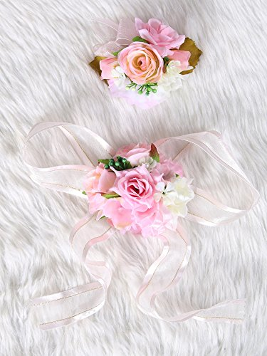 Secret Garden Wedding Prom Wrist Corsage Silk rose and Boutonniere Set Pin Ribbon Included (Pink theme) from Secret Garden