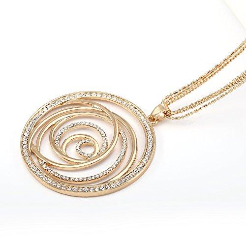 PJ Volution Floral Pendant Necklace - Czech Diamond Round Pendant Maxi Long Flower Necklaces for Women Gifts Elegant Jewelry ()