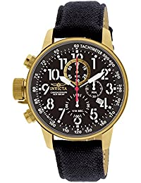 Mens 1515 I Force Collection 18k Gold Ion-Plated Watch with Black Cloth-Covered Band