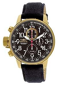 Invicta 1515 I Force Collection Reloj en acero inoxidable ionizado con baño de oro de 18 quilates con brazalete de cuero cubierto de tela negra, para hombre