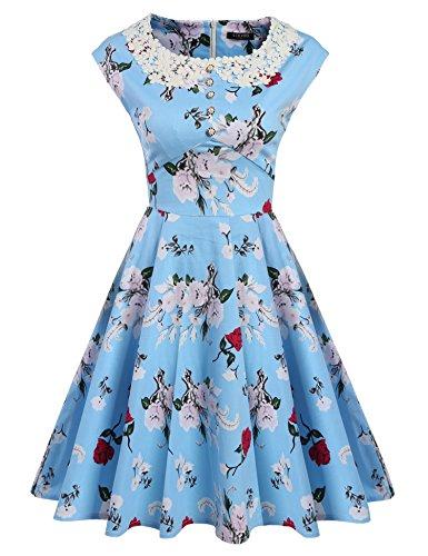 ACEVOG Women's Scoop Neck Vintage Casual Floral Print A-Line Rockabilly Dress,Lake (Alice Dress)