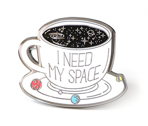 Lapel Pin I Need My Space Coffee Cup With Planets Solar System For Space Lovers Lapel Womens Pins