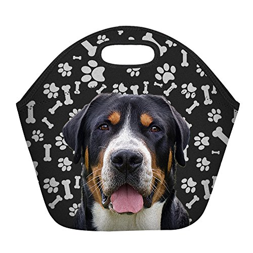Greater Swiss Mountain Dog Paws Print Insulated Lunch Bag for Women Men or Kids, Hot/Cooler Multi-purpose Work/Picnic ()
