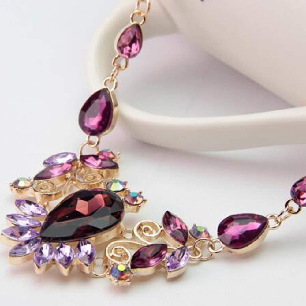 MYYQ Women Necklace Pendant,Womens Multi-Color Bridal Necklace Earrings Two-Piece Alloy Rhinestone Glass Jewelry Perimeter 45cm for All Occasions