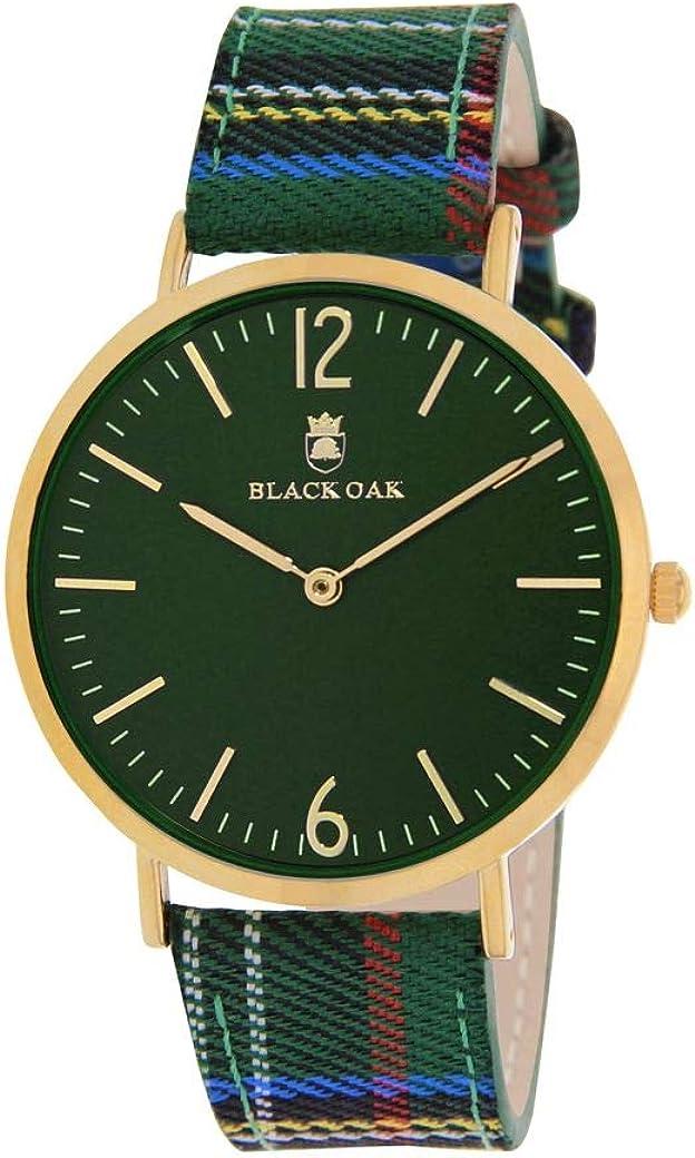 Reloj Black Oak de Tela para Hombre, Color Verde