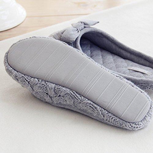Fortuning's JDS Donne delle signore delle ragazze Accogliente maglieria vello casa Calzature Grigio confortevole Flatform pantofole con l'arco