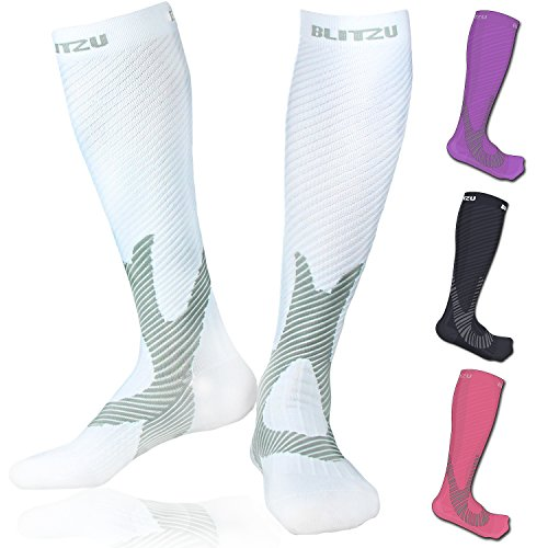 Compression Knee High Socks White L/XL (Mens White Ankle Socks Xl)