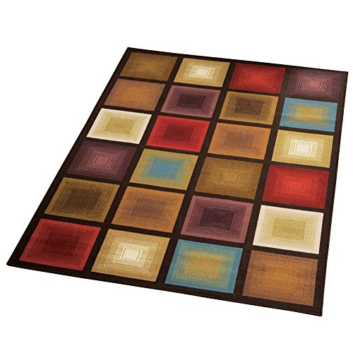 Collections Etc Optic Squares Geometric Modern Large Area Rug (Collection Rug Accent)