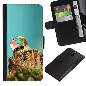 Billetera de Cuero Caso Titular de la tarjeta Carcasa Funda para HTC One M8 / Cute Spider Waterdrop / STRONG