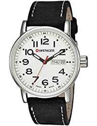Men's 'Attitude Day/Date' Swiss Quartz Stainless Steel and Leather Casual Watch, Color Black (Model: 01.0341.101)