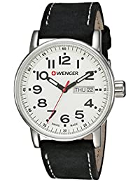 Wenger Men's 'Attitude Day/Date' Swiss Quartz Stainless Steel and Leather Casual Watch, Color:Black (Model: 01.0341.101)