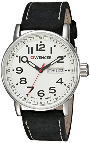 Wenger-Mens-Attitude-DayDate-Swiss-Quartz-Stainless-Steel-and-Leather-Casual-Watch-ColorBlack-Model-010341101