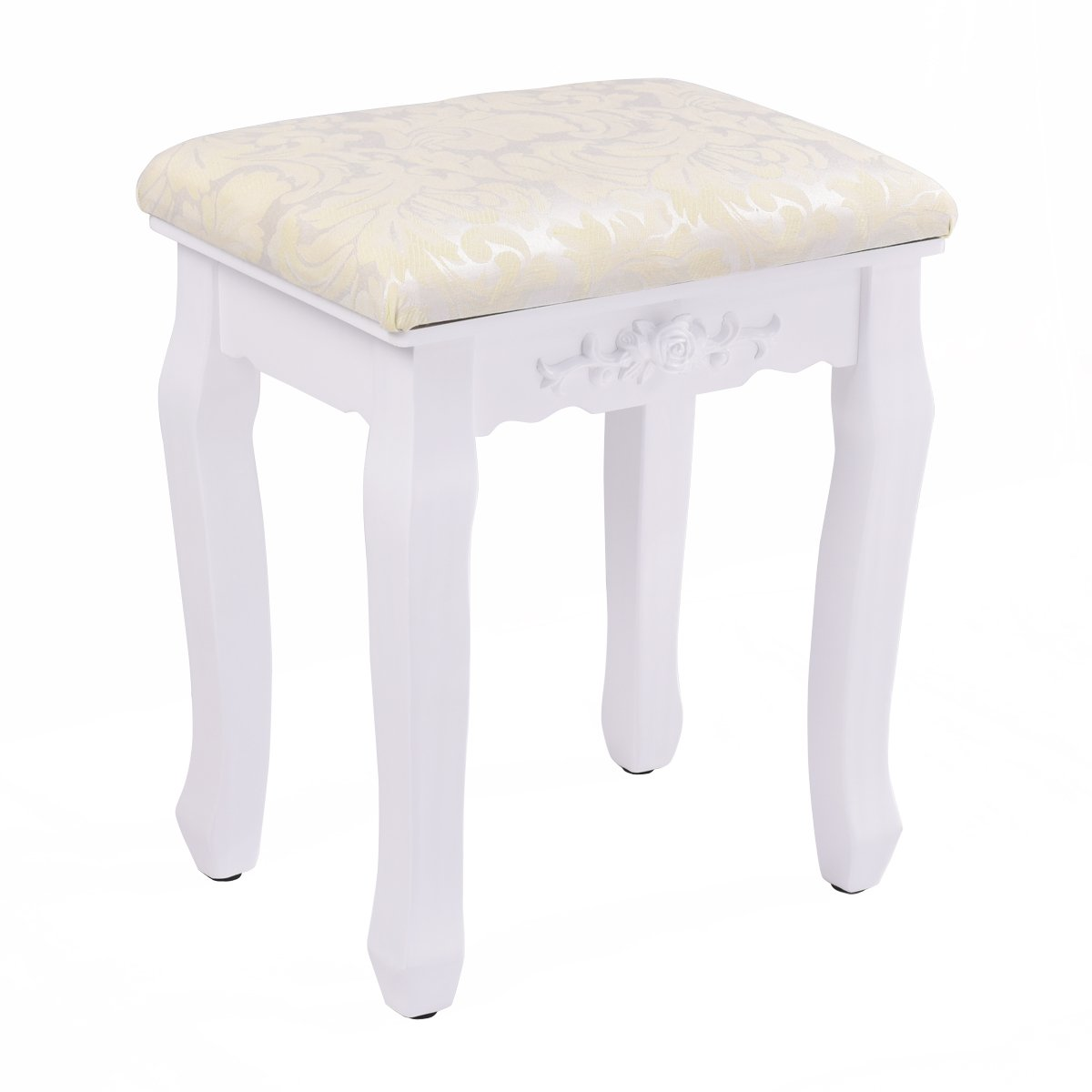 Giantex White Vanity Stool Retro Wave Design Makeup Bench Dressing Stool Pad Cushioned Chair Piano Seat