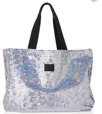 a51544d216 Amazon.com : Victoria's Secret Pink Sequin Tote Bag Silver Sequin ...