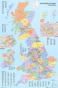 Cartina Geografica Politica Gran Bretagna.Poster Cartina Politica Della Gran Bretagna Dimensione 61 X 91 Cm Amazon It Casa E Cucina