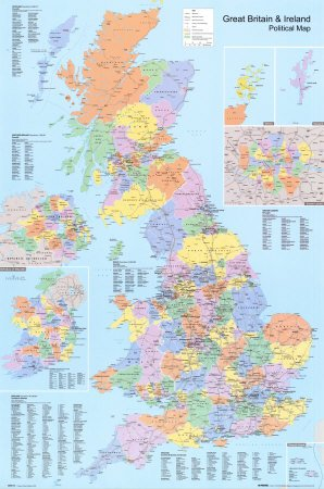 graphic relating to Printable Map of Uk and Ireland identify Superb Britain and Eire (Political Map) Artwork Maxi Poster Print - 61x91 cm
