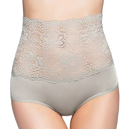 (Aubree Floral High Waist Panties Premium Soft Stretchy Lace Comfortable Sexy Underwear for Women Grey Medium)