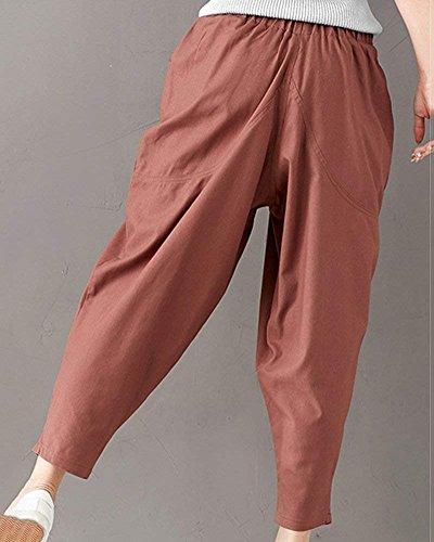 Élégant Temps Fille Long Libre Sarouels Style Fête D'été Elastische Unicolore Kaffeebraun Pantalon Femmes Large Taille xROI4En
