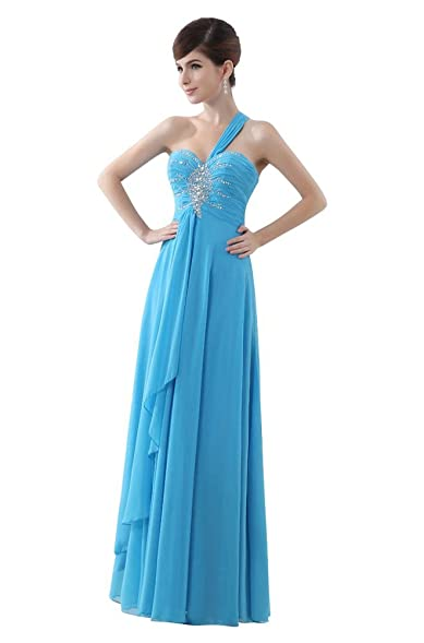 Beauty-Emily One Shoulder Lace Up Long Prom Dresses Color Blue,Size 10