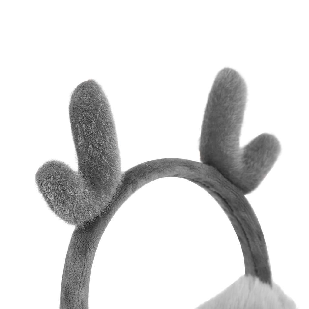Unisex Cute Antler Earmuffs Faux Fur Ear Warmers Thermal Adjustable Wrap Earflap Winter Soft Fluffy Around Ear Muffs Furry Thicken Women Men Ear shield Fleece Boys Girls Ear Cover Xmas Gift