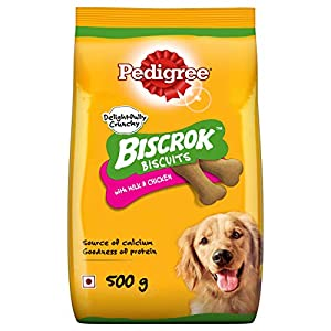 Pedigree Biscrok Biscuits Dog Treats (Above 4 Months), Milk and Chicken Flavor, 500g Pack