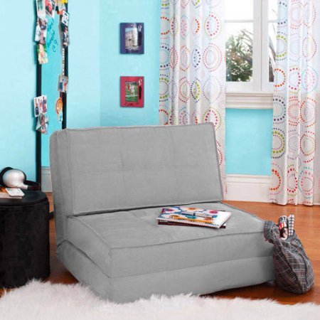 Your Zone Flip Chair Easily Converts Into a Bed - Ultra Suede Material (1, Silver) by Your Zone
