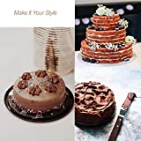 PUCKWAY 4PCS Cake Decorating Icing Spatula set with 4, 6, 8 & 10 Inch Stainless Steel Blade, Wood Handle Frosting Spatulas and Cake Stripping Tool