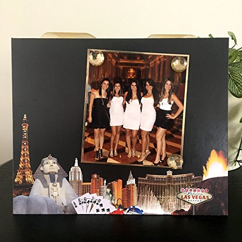 "Las Vegas Baby Travel vacation getaway 21st birthday anniversary bachelor bachelorette wedding gift handmade magnetic picture frame holds 5"" x 7"" photo 9"" x 11"" size"