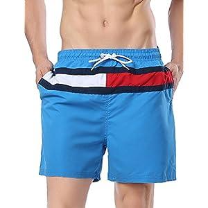 "Malavita Men's Beach Shorts Mesh Lining Swim Trunks with Pockets (US L_Asia Tag XXL,Waist:33.5""-39.5"", Blue#1)"