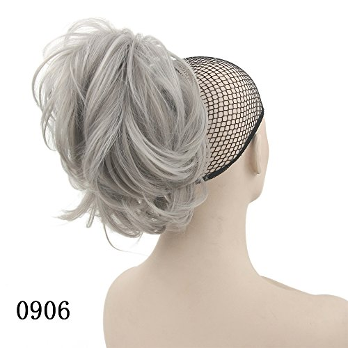 - 10 Colors Wavy Hairpieces Claw Ponytail Synthetic Hair Blonde Gray Little Pony Tail Clip In Hair Extension T1B/613 12inches