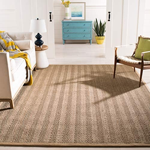 Safavieh Natural Fiber Collection NF115A Herringbone Natural and Beige Seagrass Area Rug 5' x 8'