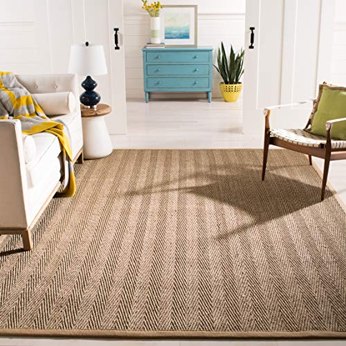 Safavieh Natural Fiber Collection NF115A Herringbone Natural and Beige Seagrass Area Rug 6 x 9
