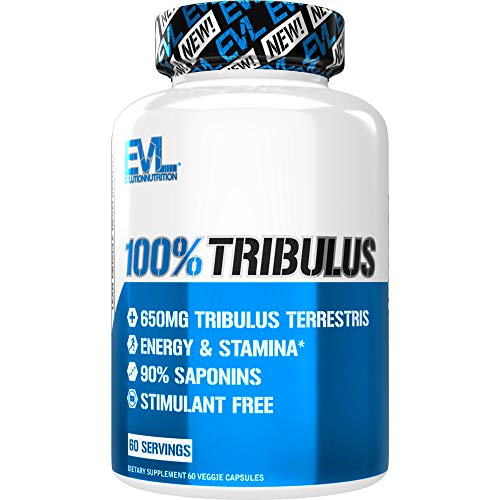 Evlution Nutrition 100% Pure Tribulus Terrestris Extract - Maximum Potency 90% Steroidal Saponins, Testosterone Booster and Estrogen Blocker Support - 60 Capsules