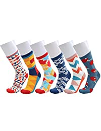 WEILAI SOCKS Men's Dress Cool Funky Colorful Comfort Cotton Casual Crew Socks 6 Pack