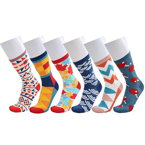 WEILAI SOCKS 6 Pack Mens Colorful Geometry Design Cotton Rich Casual Dress Crew (Pattern Dress Socks)