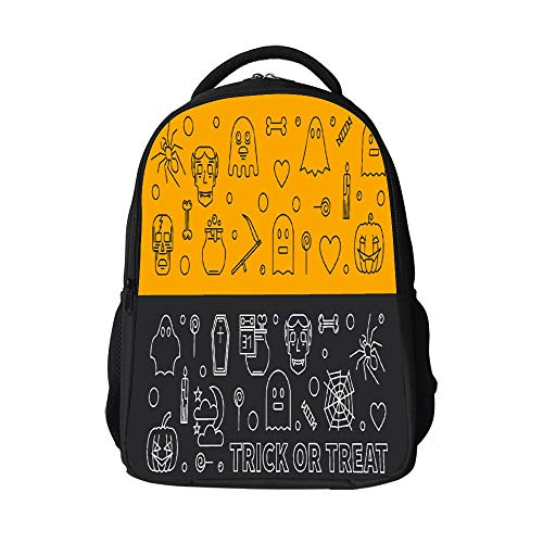 SARA NELL Halloween Banners Outline 31 Oct Holiday School Backpack with Padded Straps 3D Student Stylish Unisex Daypack for Boys Girls School Book Bags
