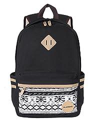 """Plambag Causal Lightweight Canvas Cute Backpack 14"""" Laptop Teen School Backpack"""