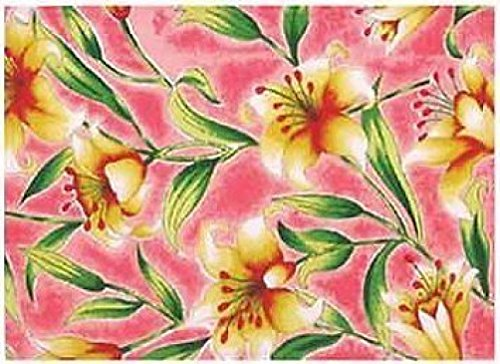 (100% Cotton Pink Lily Silk Screen 12