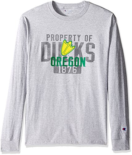 Champion NCAA Men's Long Sleeve Lightweight T-shirt Officially Licensed 100% Cotton Tagless Tee Oregon Ducks X-Large