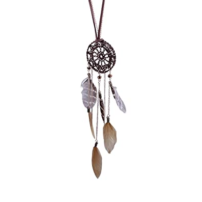 90036135aa4cab SECOWEL Retro Schmuck Legierung Anhänger Halskette Kette Golden Indianer  Traumfänger Dreamcatcher Feder Amulett