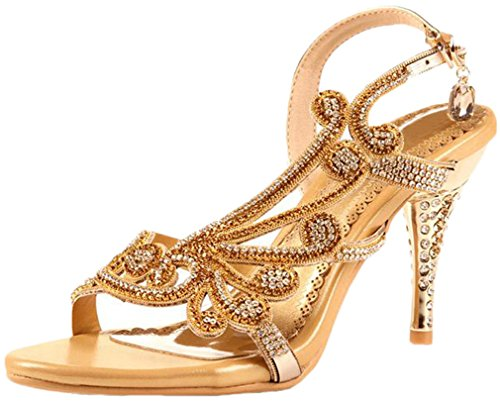 (Littleboutique Crystal Studs Sandal Heels Summer Shoes Evening Sandals Wedding Dress Strappy Shoes Gold 10 )