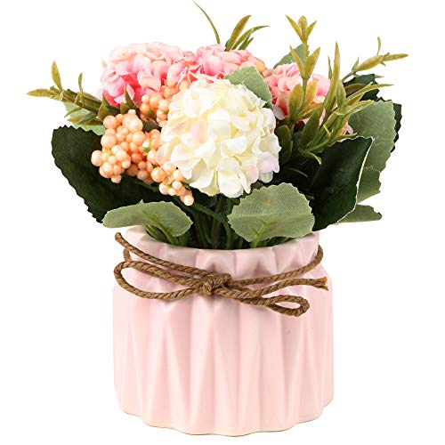SUPNIU Artificial Hydrangea Bouquet with Small Ceramic Vase Fake Silk Variety Flower Balls Flowers Decoration for Table Home Party Office Wedding (Pink) (Flowers Office For Decoration)