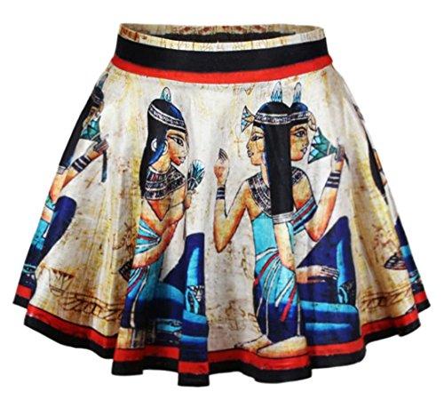 vonfon-womens-ladies-belted-skater-flared-jersey-animal-plain-mini-party-dress-skirt