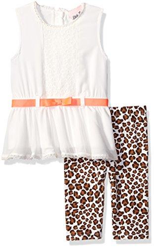 Little Lass Little Girls' Toddler 2 Piece Skimmer Set Leopard, Ivory, 2T