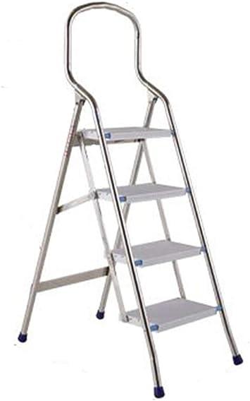 Suministros de construcción Las escaleras de tijera de acero inoxidable, escalera plegable Hogar/Escalera unilateral / 150 kg Carga máxima de seguridad Escalera ultrafina de 10 cm de plegamiento aho: Amazon.es: Bricolaje y