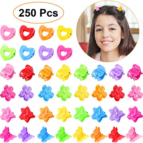 (250 Pieces Mini Hair Clips Mini Hair Claw Clip Colorful Plastic Hair Claw Clips Butterfly Shape Hair Claw Hair Pin Accessory for Women Girls)