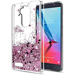ZTE Max XL N9560 Case,ZTE Blade Max 3 Z986 / Zmax Pro Z981 / ZTE Carry Liquid Case,LeYi Moving Glitter Shiny Quicksand Girls Women Clear TPU Protective Phone Case for ZTE N9560/Z986/Z981 ZX Rose Gold